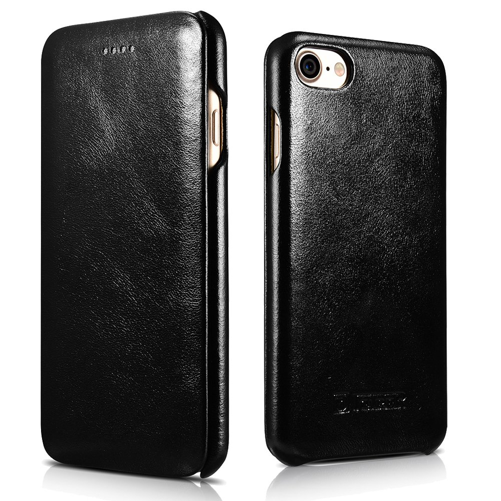 iPhone 8/7 Genuine Leather Case, ICARER Vintage Series Curve Edge Flip Folio Case (Black)
