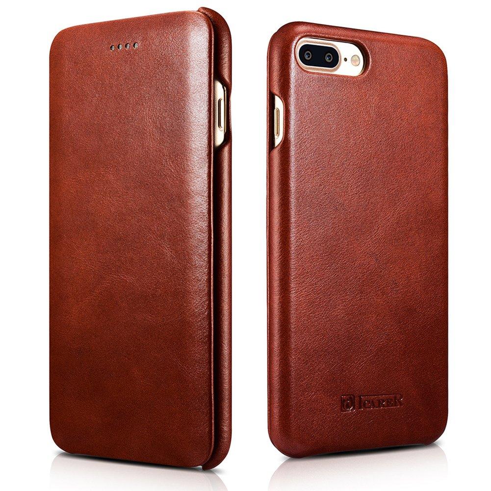 iPhone 8 Plus/ 7 Plus Genuine Leather Case, ICARER Vintage Series Curve Edge Flip Folio Case (Brown)