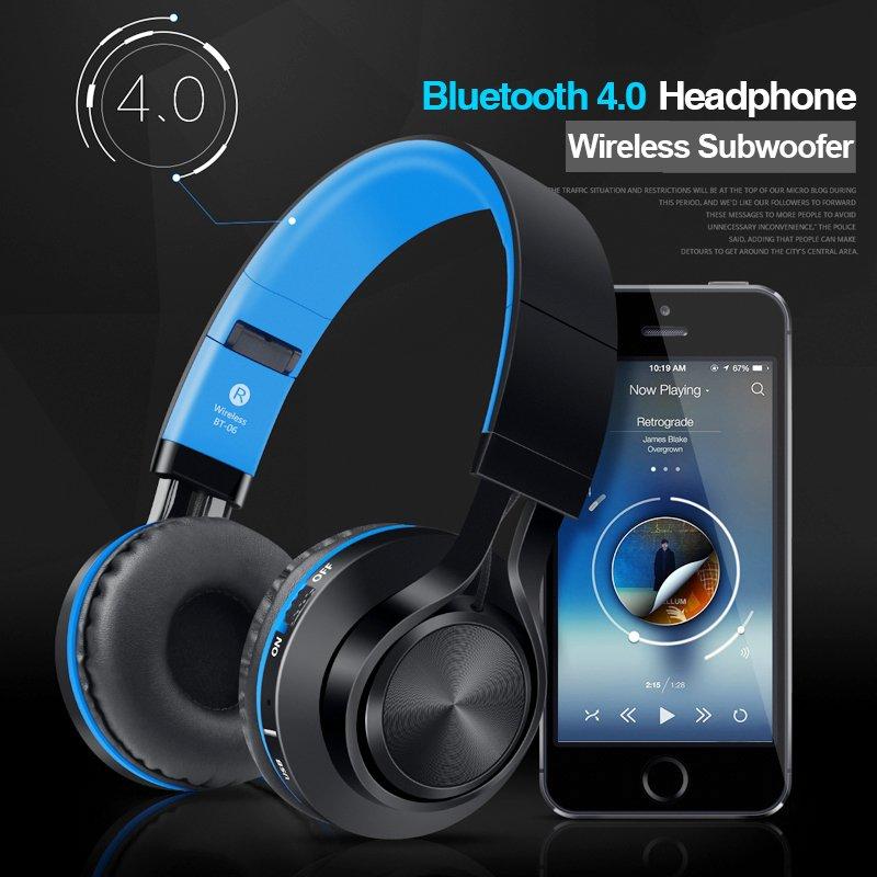 Picun BT-06 Wireless Subwoofer Over-Ear Bluetooth HeadPhone (Blue)