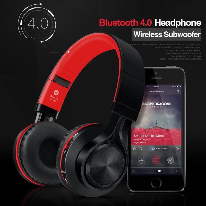 Picun BT-06 Wireless Subwoofer Over-Ear Bluetooth HeadPhone (Red)