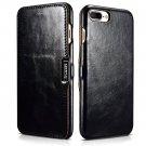 iCarer iPhone 8/7 Plus Genuine Leather Case, Vintage Series Magnetic Closure Flip Case (Black)