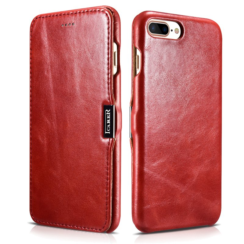 iCarer iPhone 8/7 Plus Genuine Leather Case, Vintage Series Magnetic Closure Flip Case (Red)