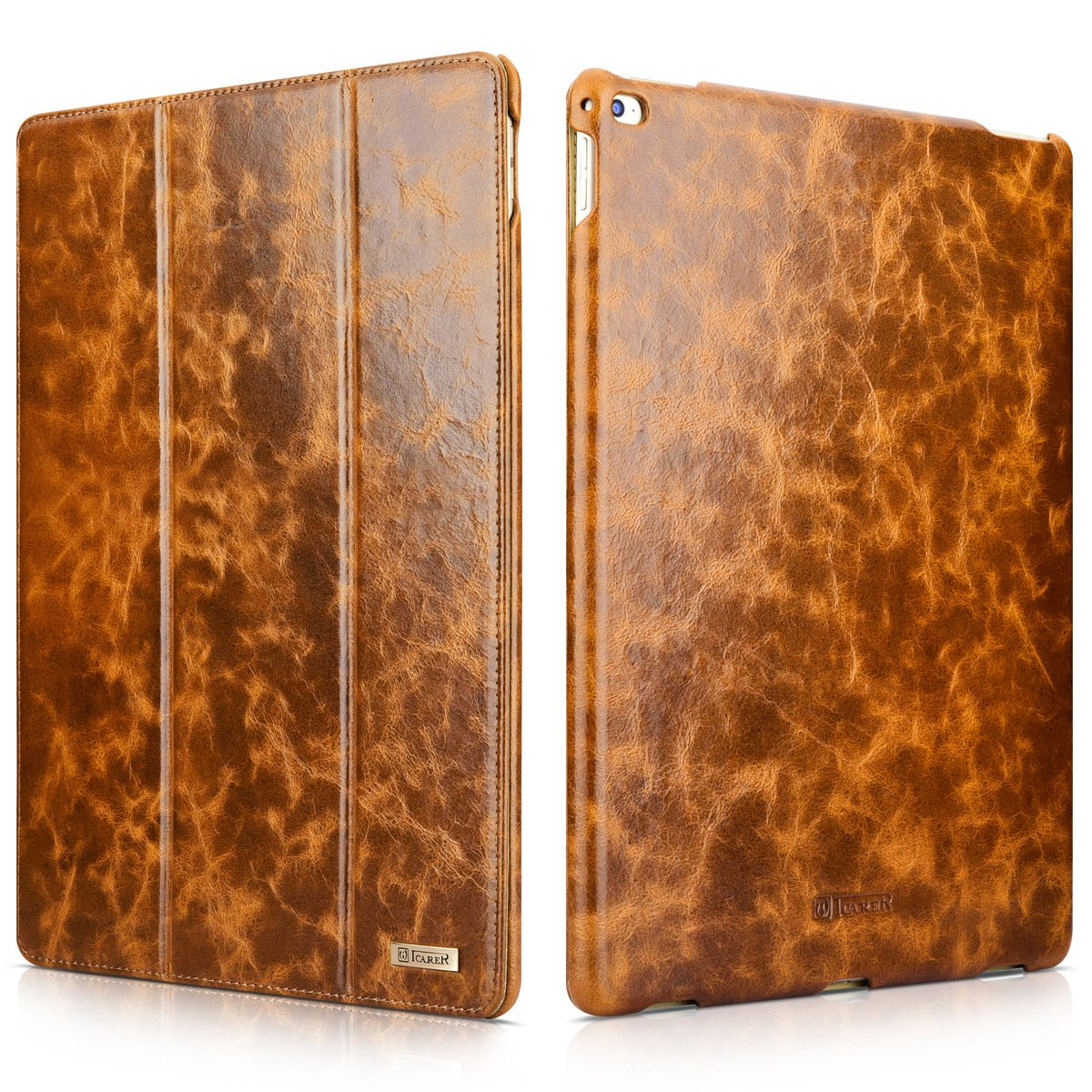 """i-Carer iPad Pro 12.9"""" inch Genuine Leather Case, Oil Wax Series Magnetic Kickstand Flip Case"""