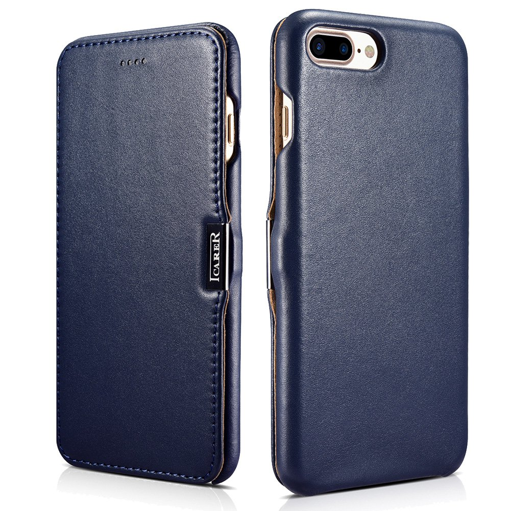 ICARER iPhone 7 Plus Genuine Leather Case, Luxury Collection Magnetic Closure Folio Flip Case (Navy)