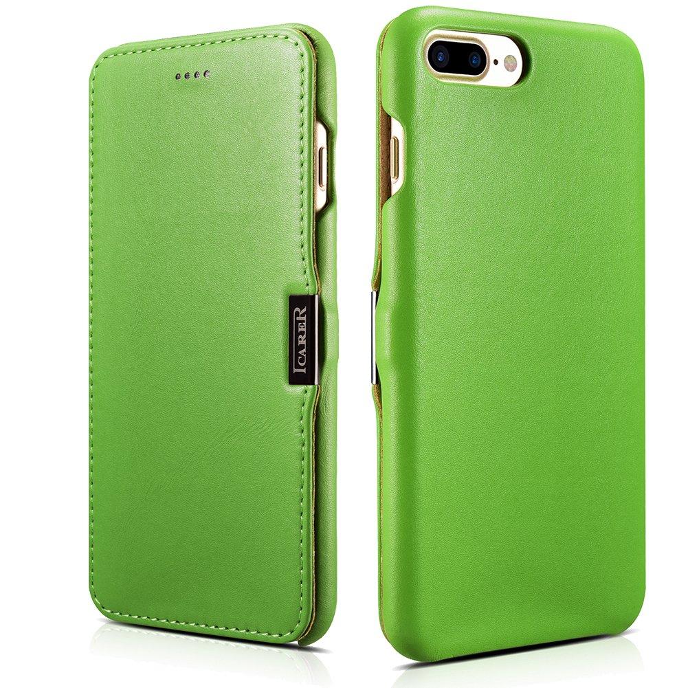 ICARER iPhone 7 Plus Genuine Leather Case, Luxury Series Magnetic Closure Folio Flip Case (Green)