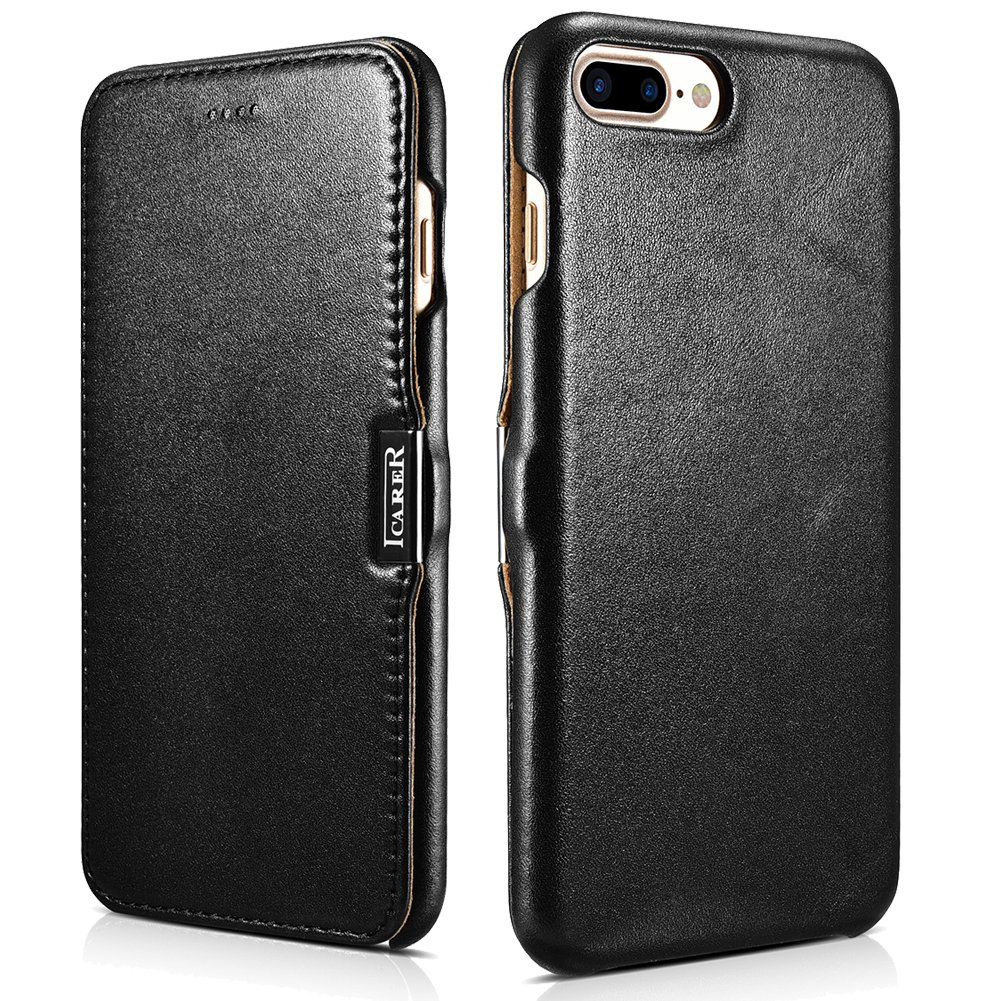 ICARER iPhone 7 Plus Genuine Leather Case, Luxury Series Magnetic Closure Folio Flip Case (Black)