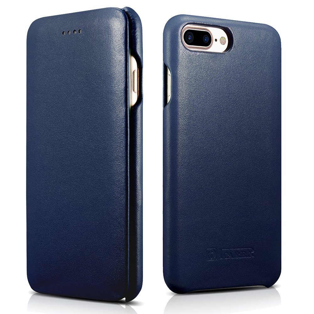 ICARER iPhone 7 Plus Genuine Leather Case, Luxury Curved Edge Full Body Protection Flip Case (Navy)