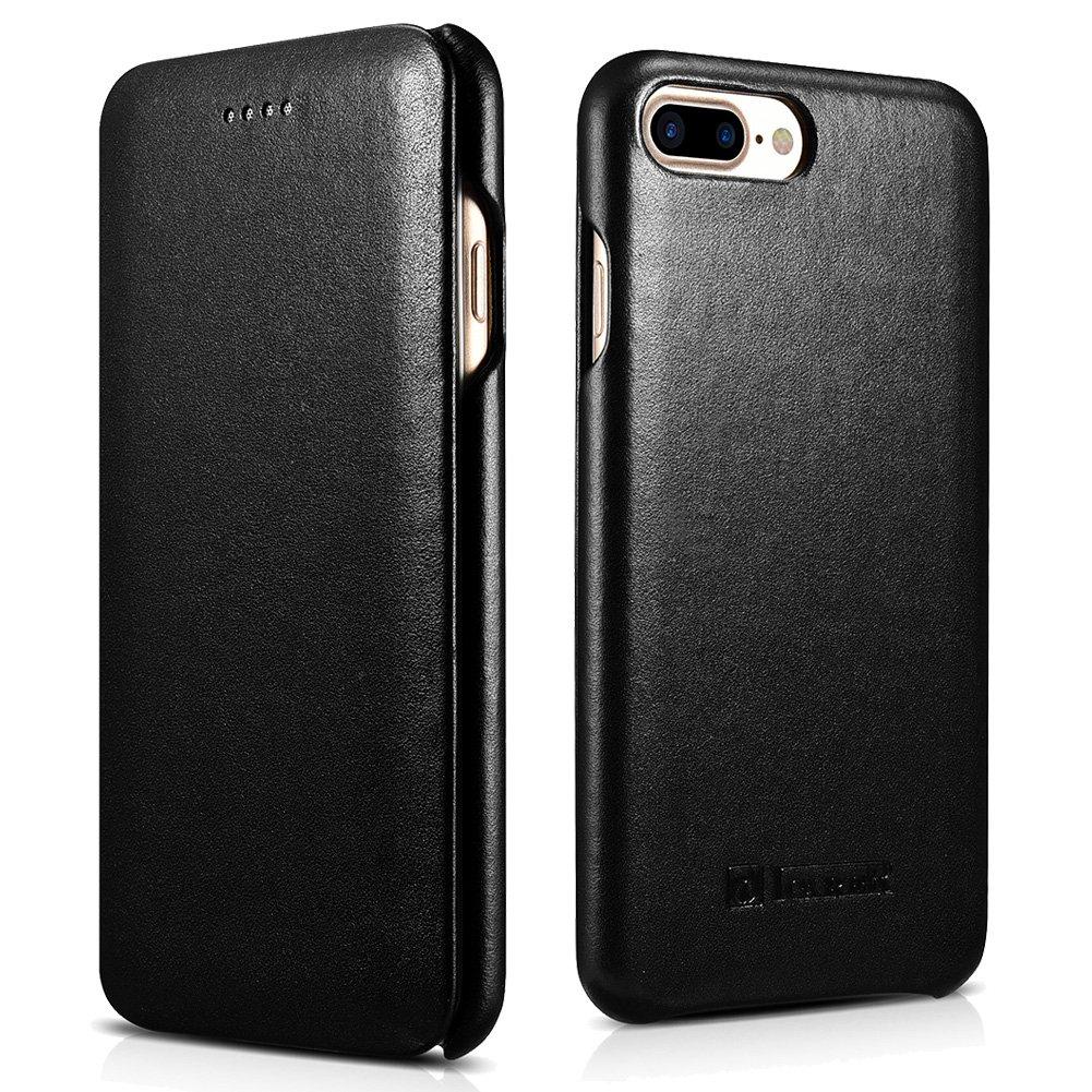 ICARER iPhone 7 Plus Genuine Leather Case, Luxury Curved Edge Full Body Protection Flip Case (Black)