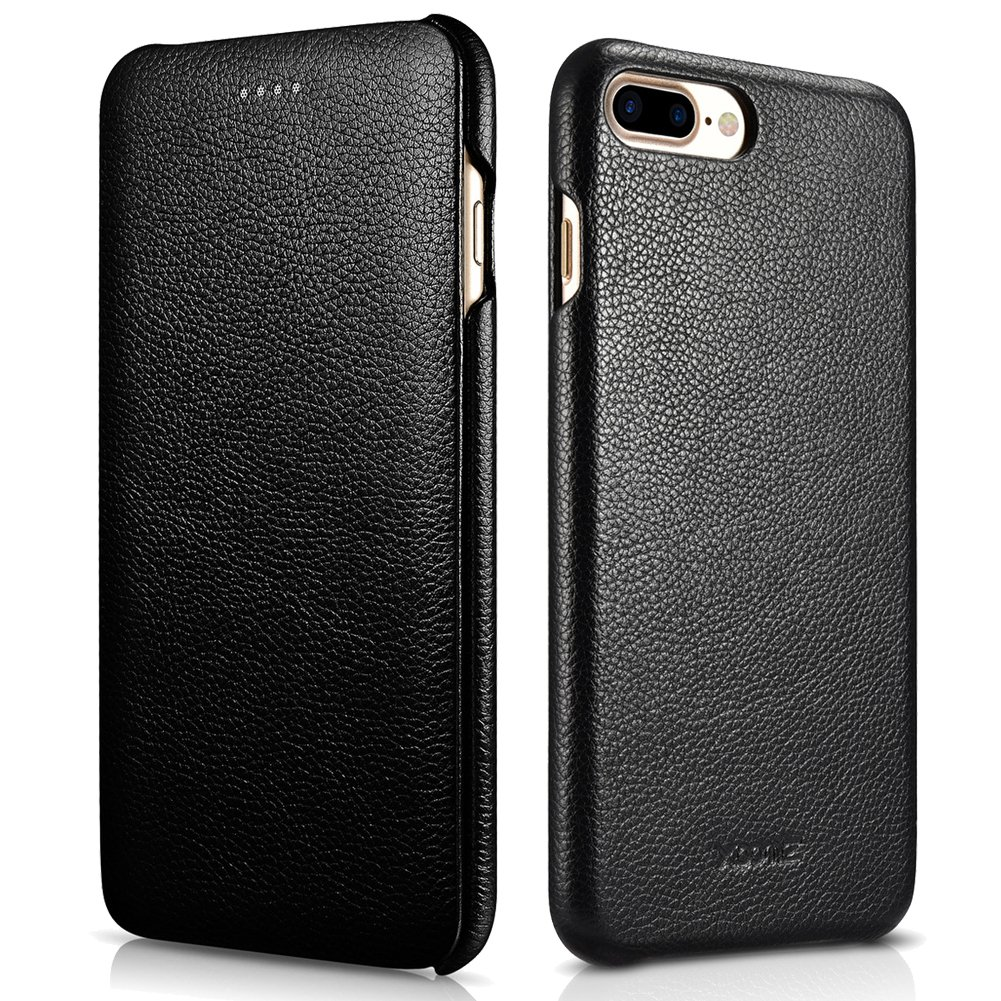 iPhone 7 Plus Genuine Leather Case, XOOMZ Litchi Series Curved Edge Full Body Protection Flip Case