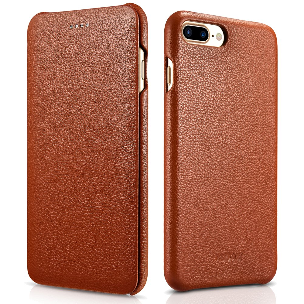 iPhone 7 Plus Genuine Leather Case, XOOMZ Litchi Curved Edge Full Body Protection Flip Case (Brown)