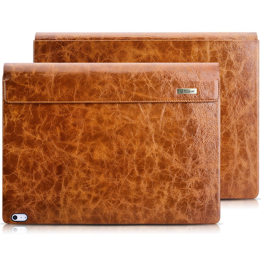 "Microsoft Surface Book 2 13.5"" Case, icarer Oil Wax Retro Genuine Leather Detachable Case"