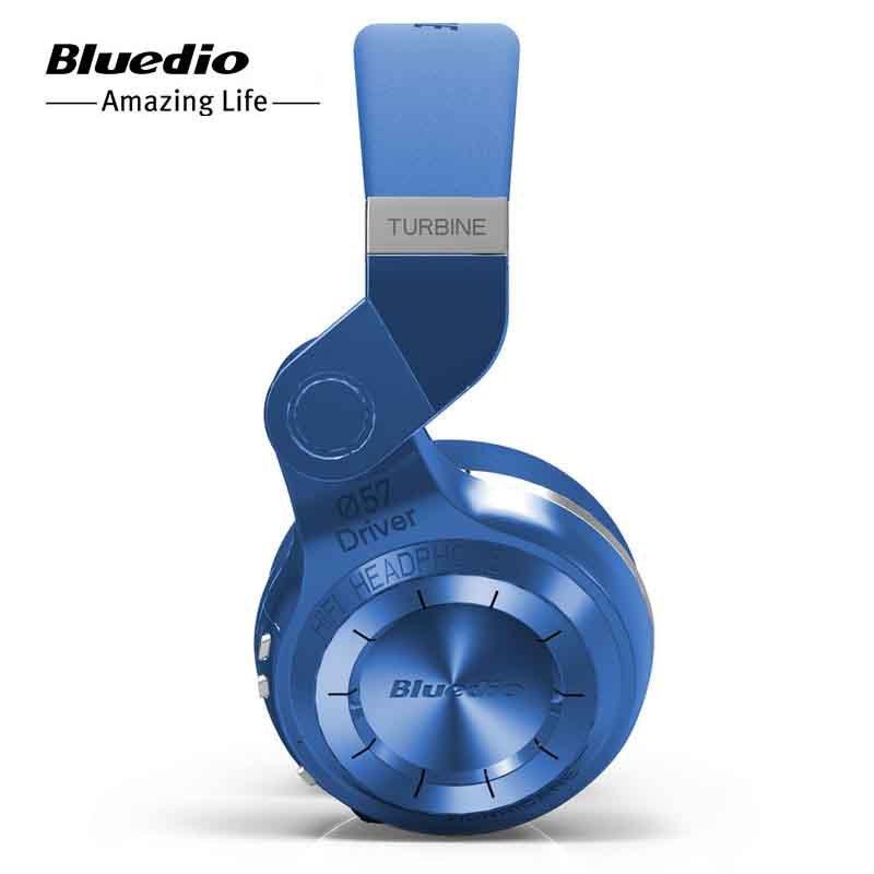 Bluedio T2 Turbine Folding Dynamic Bass Wireless Bluetooth Stereo Over-Ear Headphone (Blue)