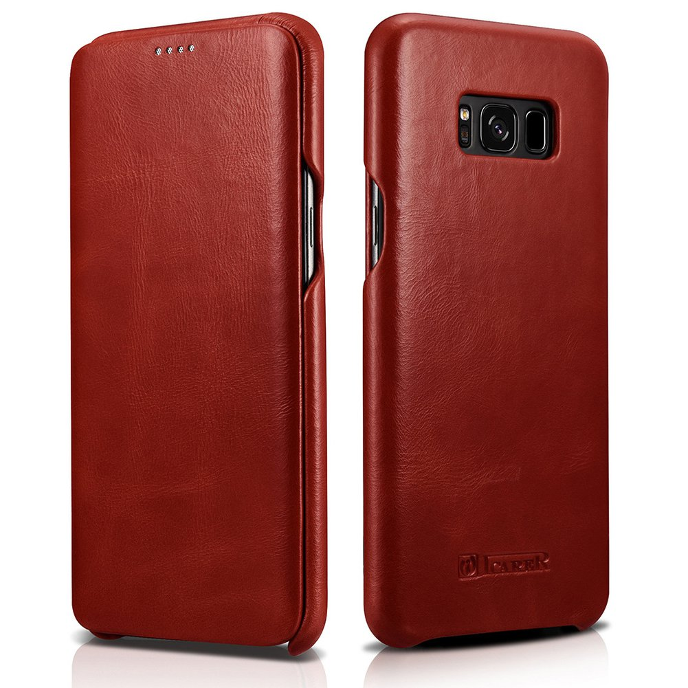 "icarercase Samsung Galaxy S8 Plus 6.2"" Genuine Leather Folio Flip Vintage Curved Edge Case (Red)"