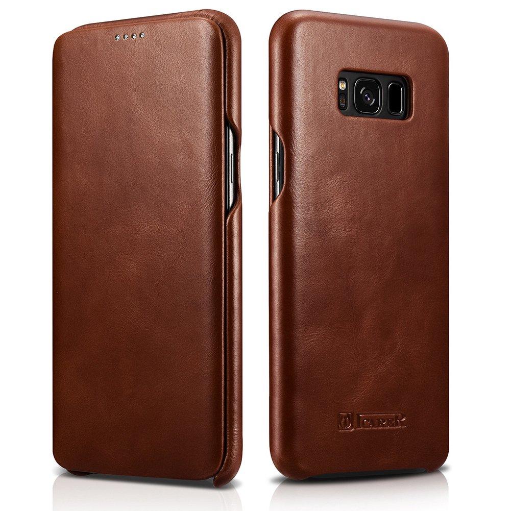 "icarercase Samsung Galaxy S8 5.8"" Genuine Leather Folio Flip Case, Vintage Curved Edge Case (Brown)"