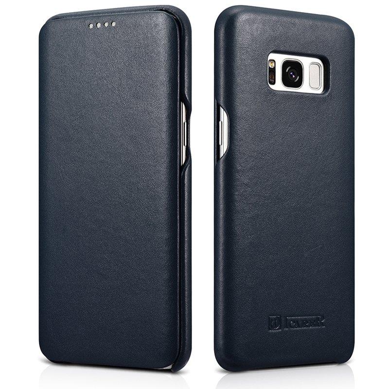 Samsung Galaxy S8+ Leather Case, icarer Luxury Genuine Leather Full Body Folio Flip Case Navy Blue