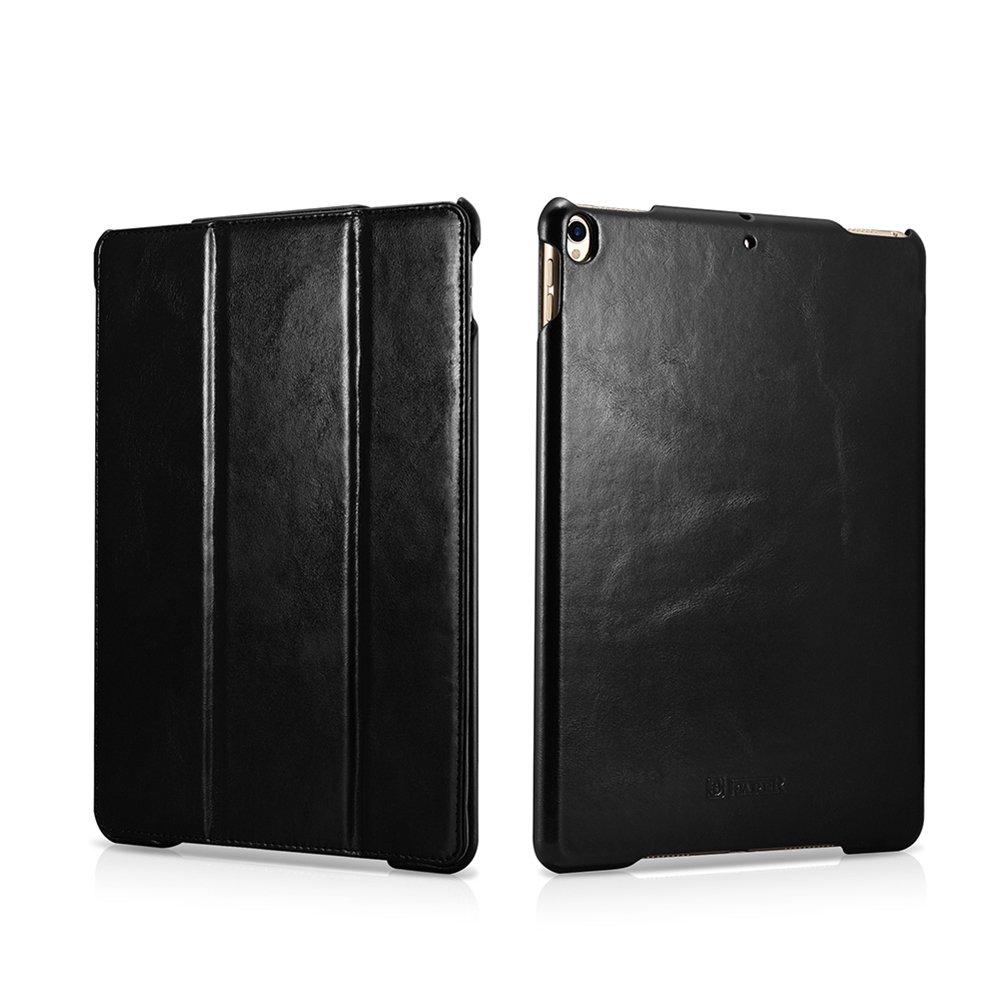 iPad Pro 10.5 2017 Genuine Leather Case, icarer Vintage Wake/ Sleep Kickstand Folio Flip Case black