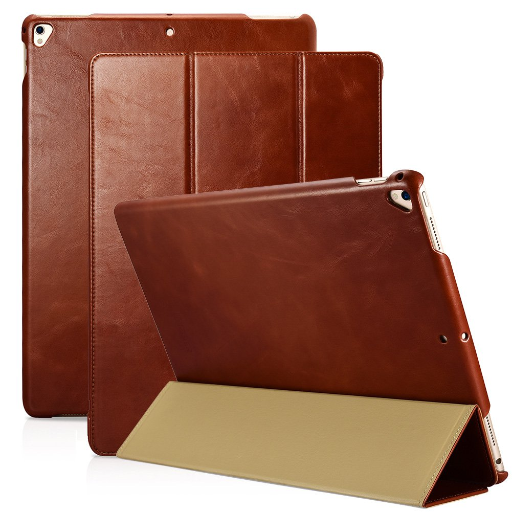 iPad Pro 12.9 2017 Genuine Leather Vintage Tri-folding Wake/ Sleep & Kickstand Folio Flip Case Brown
