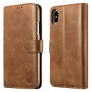 iPhone X Leather Wallet Case with Belt Clip, icarer Vintage Stand Magnet Detachable Flip Cover Brown