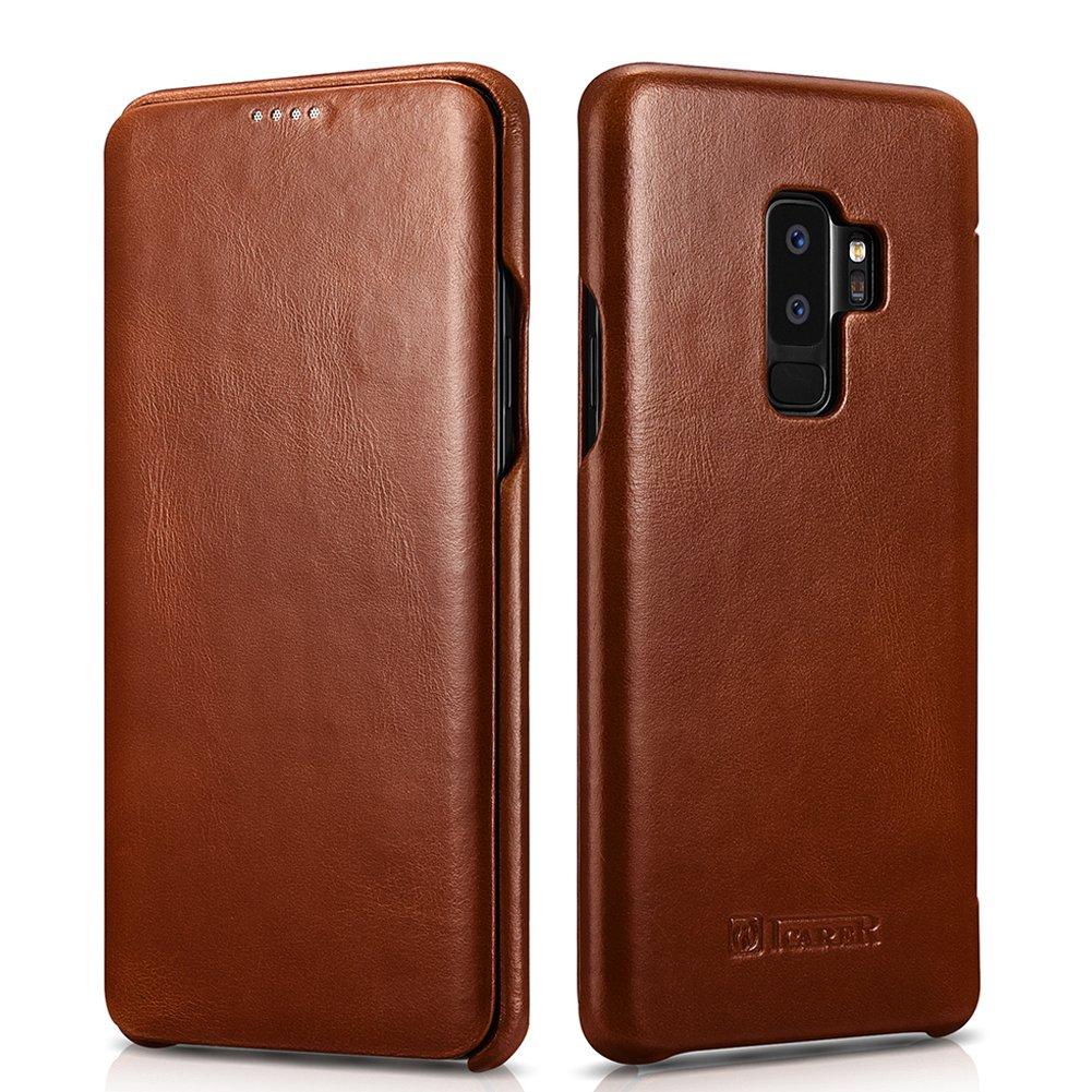icarer Galaxy S9 Plus Vintage Genuine Leather Curve Edge Full Body Folio Flip Case (Brown)
