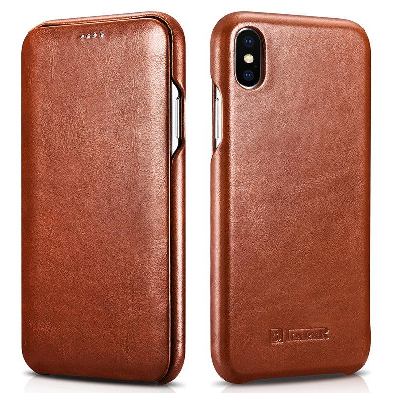 "iPhone XS Max 6.5"" Genuine Leather Case, icarer Vintage Curve Edge Full Body Folio Flip Case (Brown)"