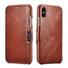 "iPhone XS Max 6.5"" Genuine Leather Case, icarer Vintage Magnetic Closure Folio Flip Case (Brown)"