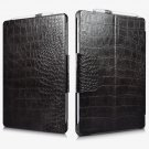 Microsoft Surface Pro 7/ 6/ 5/ Pro 4 Crocodile Pattern Genuine Leather Kickstand Flip Case - black