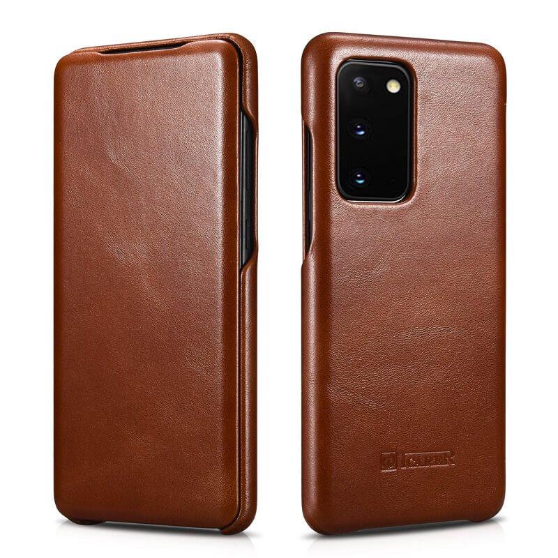 "iCarer Samsung Galaxy S20 6.2"" Vintage Series Genuine Leather Folio Flip Case -Brown"