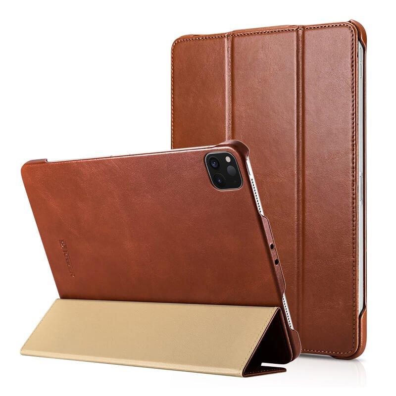 "iCarer iPad Pro 11"" 2020 Genuine Leather Tri-fold Stand Smart Folio Flip Case Cover (Brown)"