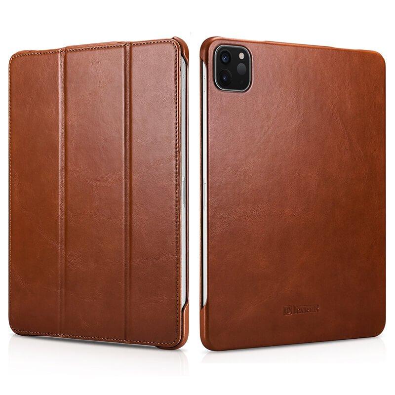 "iCarer iPad Pro 12.9"" 2020 Genuine Leather Tri-fold Stand Smart Folio Flip Case Cover (Brown)"