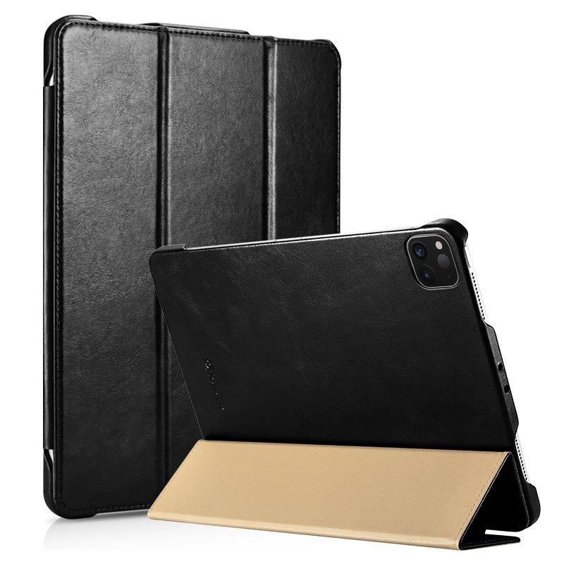 "iCarer iPad Pro 12.9"" 2020 Genuine Leather Tri-fold Stand Smart Folio Flip Case Cover (Black)"