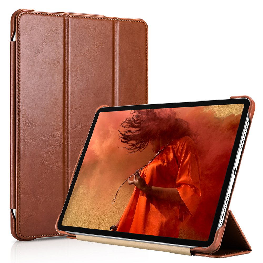 "iCarer iPad Pro 12.9"" 2018 Genuine Leather Tri-fold Stand Smart Folio Flip Case Cover (Brown)"