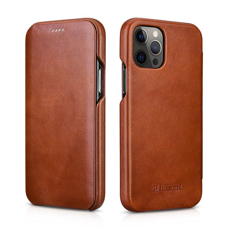 "iCarer iPhone 12 Pro 6.1"" Genuine Leather Vintage Full Coverage Curved Edge Folio Flip Case -Brown"