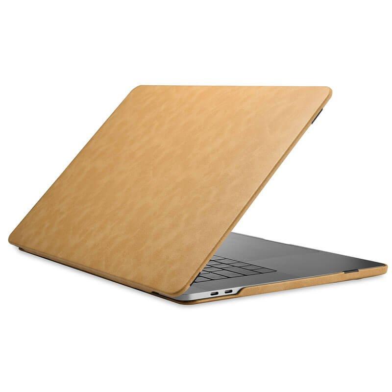 "MacBook Pro 13"" 2019 2020 M1 Microfiber Leather Slim Fit Back Cover Case Skin - Brown"