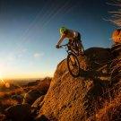 Bike Trials Sunset Rocks Sport 24x18 Print Poster