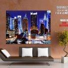 New York City Ny Manhattan Night Huge Giant Print Poster