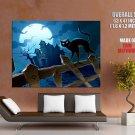 Haunted House Moon Night Black Cat Art Huge Giant Print Poster