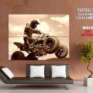 Motocross Quad Offroad Jump Sepia Sport Huge Giant Print Poster