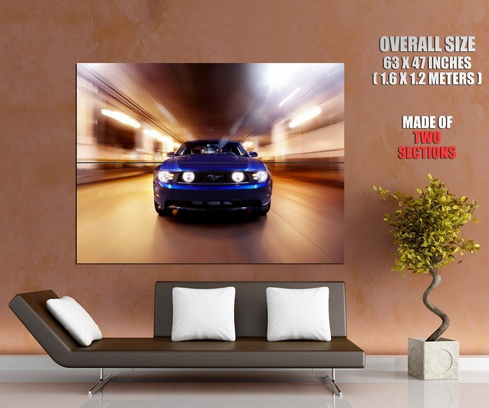 Blue Ford Mustang Front Muscle Car Speed GIANT 63x47 Print Poster