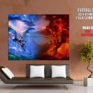 Dragon Fight Blue Wind Red Fire Art GIANT 63x47 Print Poster