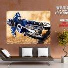 Yamaha Blue Motocross Bike Motorcycle Huge Giant Print Poster