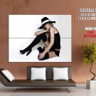 Hot Blonde Babe Hat Sexy Stocking Huge Giant Print Poster