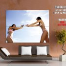 Hot Brunette Girls Water Guns Bikini Huge Giant Print Poster
