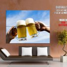 Clink Glasses Beer Sky Cool Huge Giant Print Poster