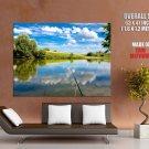 Fishing Rod Lake Sky Nature Huge Giant Print Poster