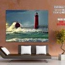 Lighthouse Sea Waves Foam Nature Huge Giant Print Poster