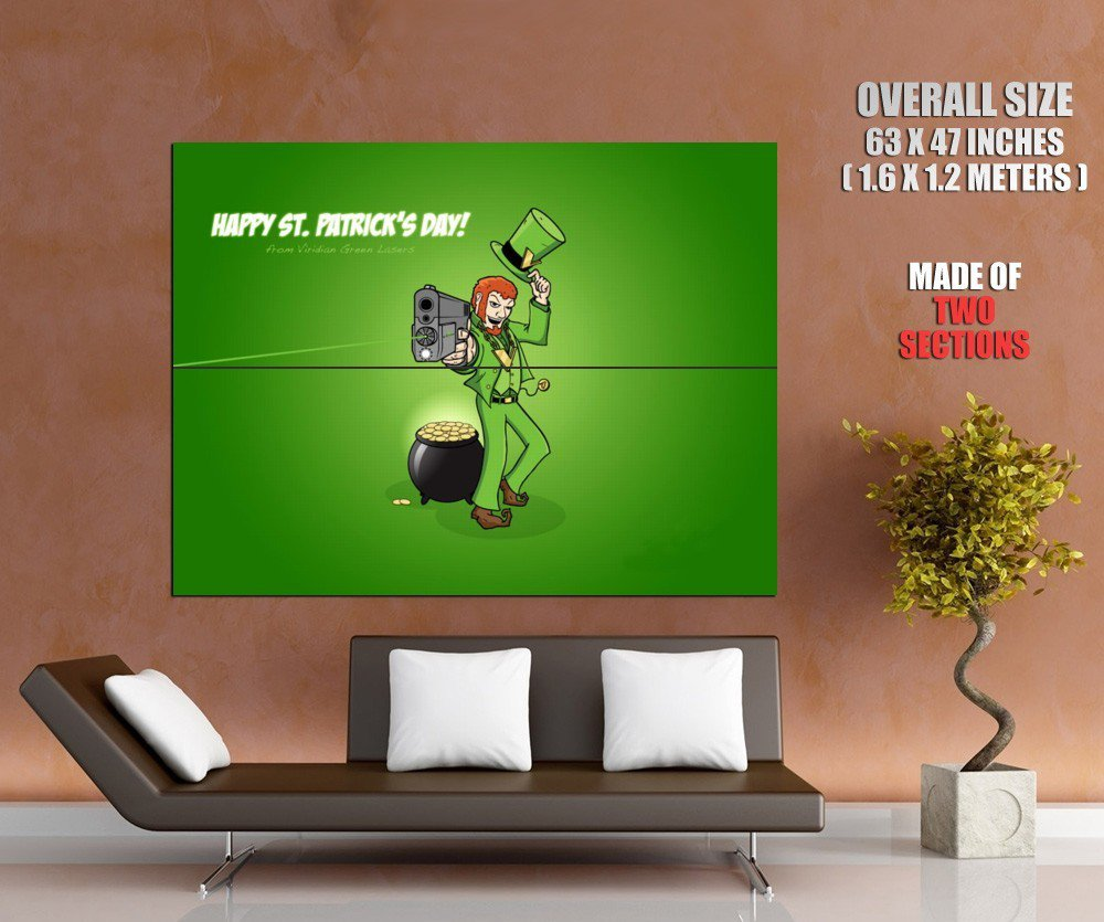Happy St Patrick S Day Green Laser Huge Giant Print Poster