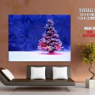 Lonely Christmas Tree Snow Huge Giant Print Poster