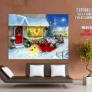 Santa Claus Deer Sledge Christmas Huge Giant Print Poster