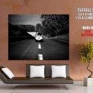 Meditation Lonely Girl Road Bw Mood Huge Giant Print Poster