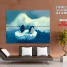 Penguins Ice Floe Art Animal Huge Giant Print Poster